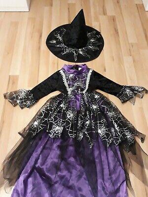 Hexenkostüm Gr.116 Hexenkleid Schwarz Lila Silber Kleid Hut TOP Halloween - Schwarzes Top Hut Kostüm