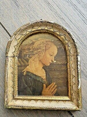 Gold Gilt Italy Florentine Wood Tole Madonna Religious Icon OLD Must SEE LABEL !