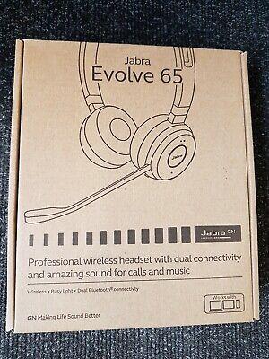 Brand new GENUINE Jabra Evolve 65 Stereo Wireless Bluetooth Mic. Headset-UC type