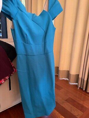 Roland Mouret Teal Wool Crepe Dress Size Uk 10/ US 4 Asymmetrical Neckline