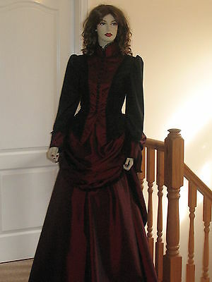 LADIES VICTORIAN / STEAMPUNK BUSTLE SKIRT OUTFIT / DRESS / COSTUME (BLACK & - Bustle Skirt Kostüm