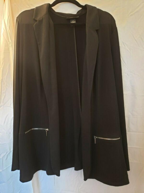 Lane Bryant Black OPEN FRONT JACKET Blazer Womens Plus 22/24 zippered pockets