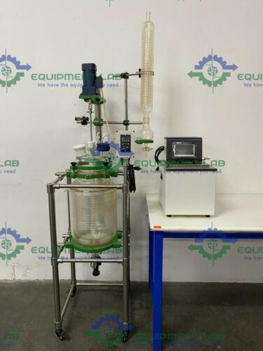 20 Liter Jacketed Glass Reactor w/ Motor,Circulation Bath, Agitator, & Glassware