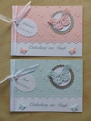 Einladung zur Taufe mit Namen rosa / blau / Tischkarten (4er Set) / Gastgeschenk (Taufe Karten)