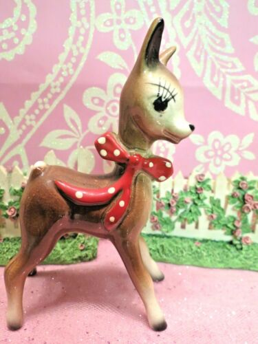 Vtg Christmas Anthropomorphic Fawn Deer Reindeer W Red Polka Dotted Bow Tie CUTE