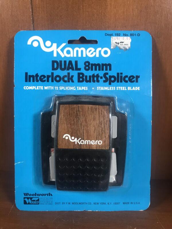 Kamero Dual 8mm Interlock Butt Splicer 12 Film Splicing Projector Tapes NOS