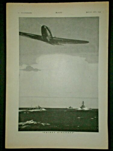 1943 FAIREY FIGHTER PLANE & SHPS WWII BATTLE vintage aircraft Trade print ad