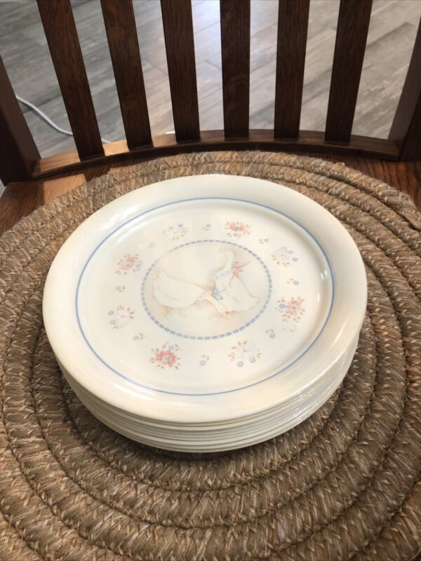 """9  Corning Corell 8.5"""" Country Promenade Geese LUNCHEON PLATES"""