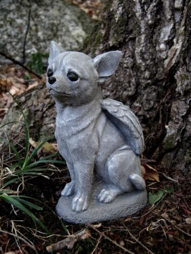 Chihuahua Dog Angel,  Concrete Garden Statue, Cement Pet Memorial, Marker, Gray