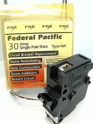 New Federal Pacific 1fpe130 30 Amp Type Na 120240v Single Pole Stab-lok Breaker