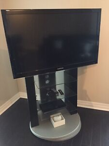 TV Stand with Glass Shelves and Swivel Base