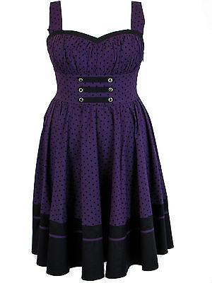 Plus Size Black Purple Polka Dot Flirty Retro Pinup Rockabilly Dress 1X 2X 3X 4X