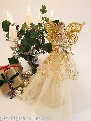 Christmas tree topper fairy angel traditional with gold wings
