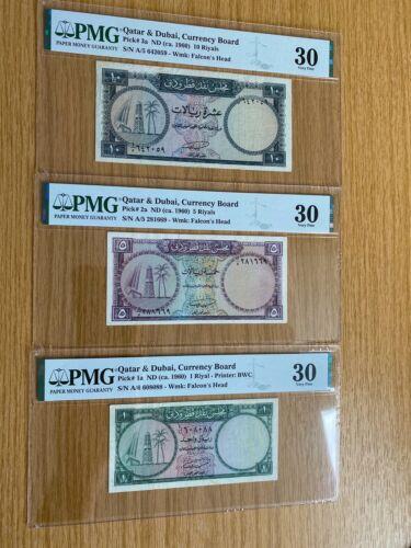 QATAR AND DUBAI SET 1 5 10  RIYAL BANKNOTE P1 P2 P3 PMG 30 GRADED (3 NOTES) VF
