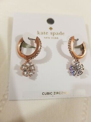 Kate Spade Clear Rose Gold Earrings New $58