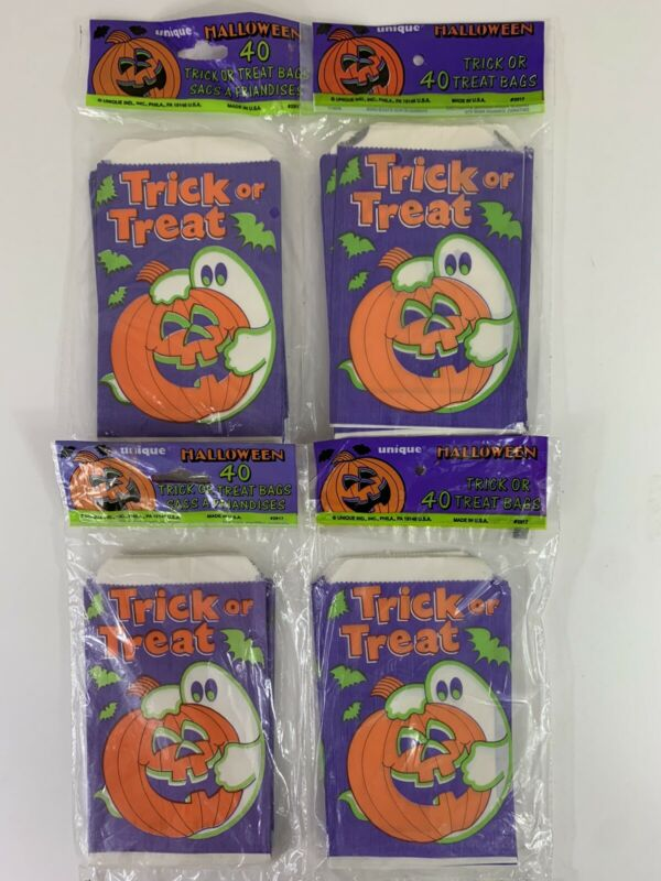 Large Vintage Lot of 160 Halloween Paper Trick or Treat Candy Bags NOS