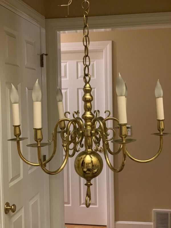 Vintage Solid Brass Colonial Williamsburg Style Chandelier