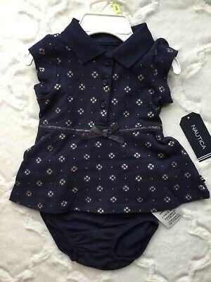 Nautica Baby Girl Navy Blue Glitter Floral Print Polo Shirt Dress & Bottoms Set