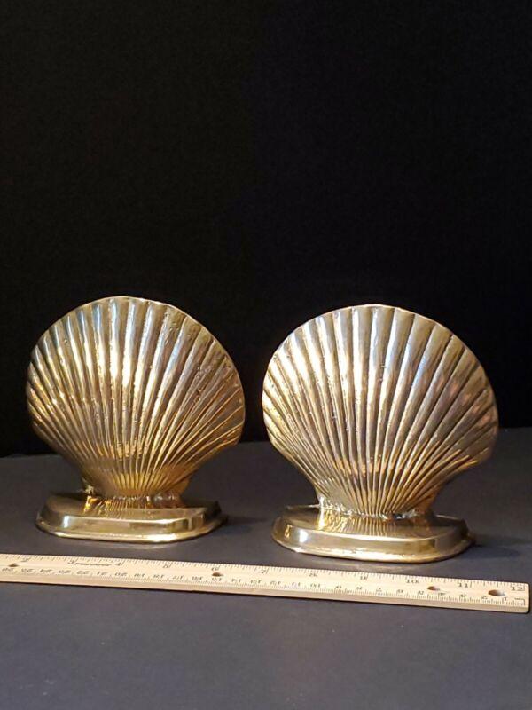 "Solid Brass 5""×5""×1.5"" Seashell Bookends MidCentury Modern Hollywood Regency EUC"