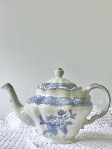 Spode Blue Camilla Teapot, Sugar, Creamer 3 Piece Set Made in England
