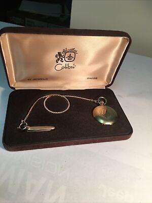 Vintage COLIBRI Gold Tone Pocket Watch Knife Key Chain Set w Box