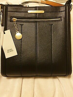 River Island Handbag Black Messenger Bag New with Tags