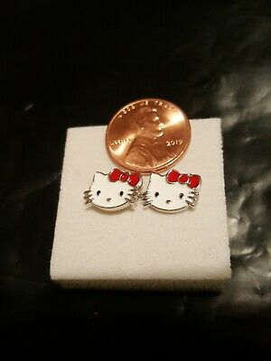925 Silver Hello Kitty (whiskers out) Stud Earrings Gift (Hello Kitty Whiskers)
