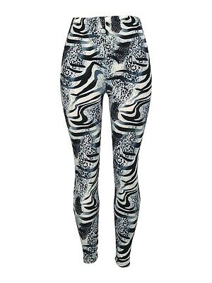 Zebra Cheetah Wild One Size Black White Blue OS Leggings Pants Buttery Soft Wild One Black Zebra