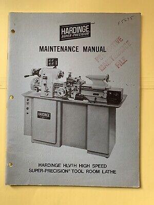 Hardinge Hlv-h High Speed Tool Room Lathe Maintenance Manual M150