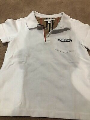 Boys Burberry Cotton Polo Shirt Size 6 - White (May run small and fit 4-5)
