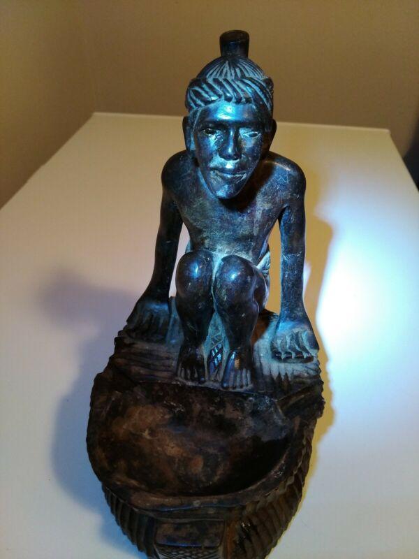 "Vintage Hand Carved Wood  Philippines Filipino Head Hunters Man 10"" tall"