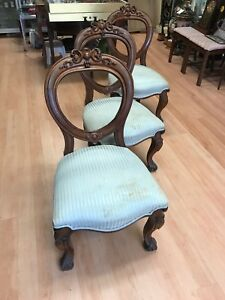 Set of six Victorian balloon back chairs