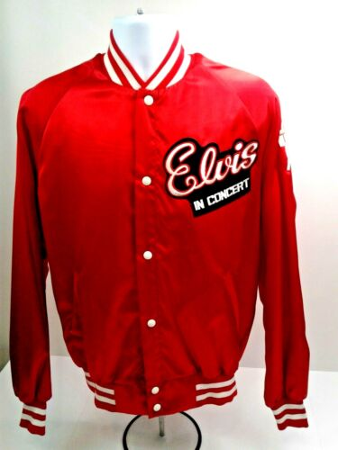 Vintage 80s Wall ELVIS PRESLEY in CONCERT Snap Button-Down XL Red Satin Jacket