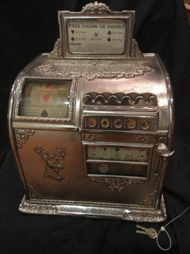 "Caille Bros. c 1910 ""Rare Elk"" Cast Iron w Swivel Base 5 Cent Trade Stimulator"