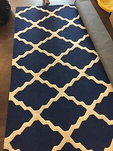 Navy and white area rug