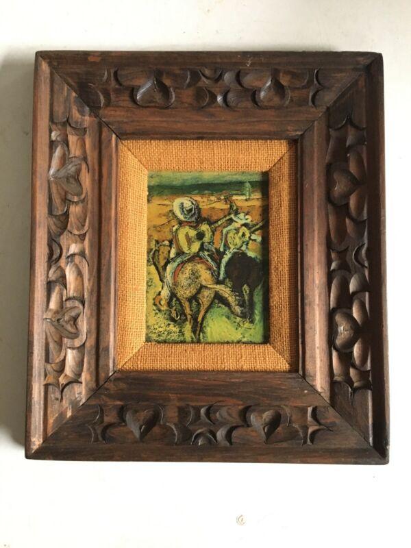 Original VTG Carlos Lopez-Ruiz (1912-1972) Mid Century Gaucho Painting Latin Art