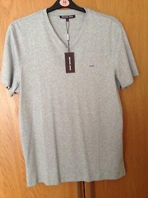 BNWT Men's Michael Kors V-Neck T-Shirt - Grey - Size Large - RRP £45 *BRAND NEW*