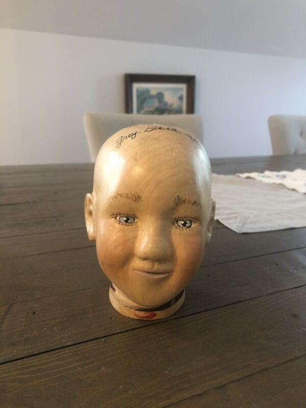 """Nancy Bruns Precious Babies Maple Wooden Doll Head Signed/Dated """"Brunswood"""""""