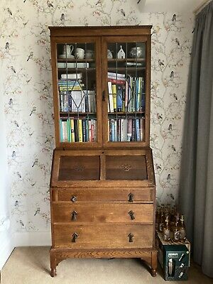 Antique 1920s Wooden Display Cabinet Bureau With Drawers