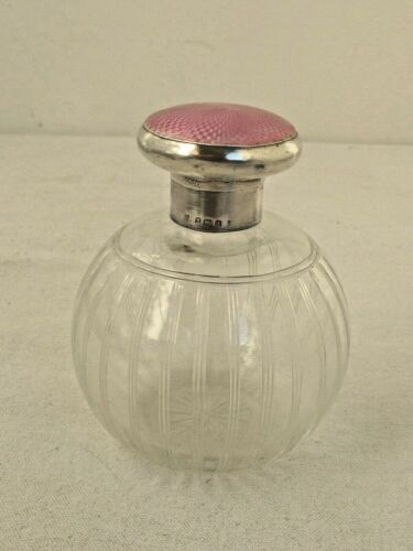 Antique Crystal and Sterling Pink Guilloche Enamel Perfume Bottle