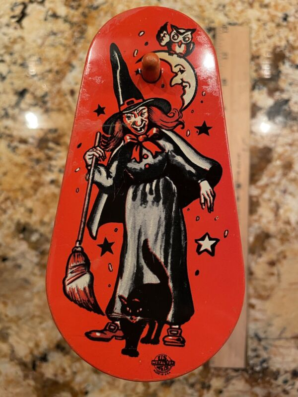 Vintage Halloween Noisemaker US Metal Toy Mfg Co. Witch