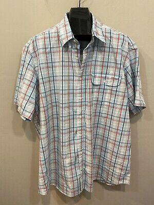 Nautica Blue Plaid Short Sleeve Button Front Shirt Men's Size 3XL
