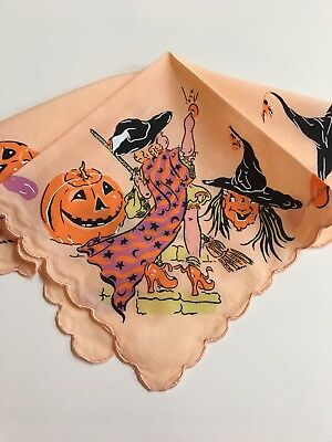 Adorable New Halloween Handkerchief ~ Hankie Witches Pumpkins Jelly Bean Border!