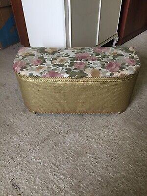 Vintage Original GOLD Loom Storage Blanket Box Lloyd Double Seat Stool  13/1/E