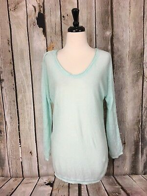 Aritzia T. Babaton Top MInt Green 100% Linen Long Sleeve Scoop Neck Womens XS for sale  Fresno