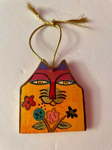Laurel Burch Cat Hand Painted Vintage Wood Ornament Decor *