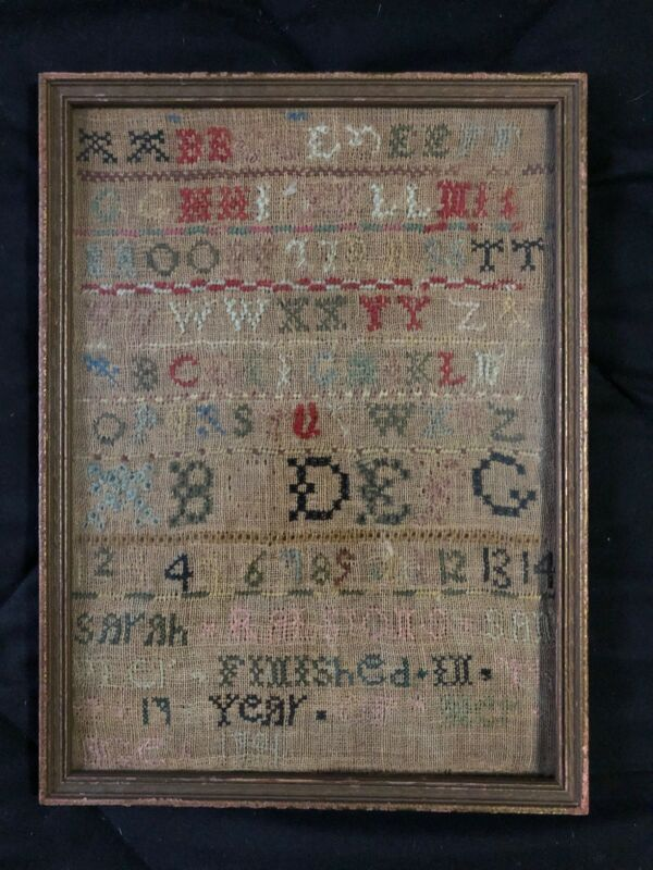 Antique 1791 Cross Stitch Needle Work Sampler by Sarah Ralston Pennsylvania