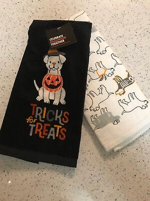 Celebrate Halloween Together 2 pk Trick For Treats Dog Kitchen Towels 16x26