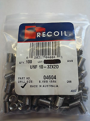 Recoil 04604 - Bag Of 100- Thread Repair Inserts Unf 10-32 X 2dia - Mpn 4604-new