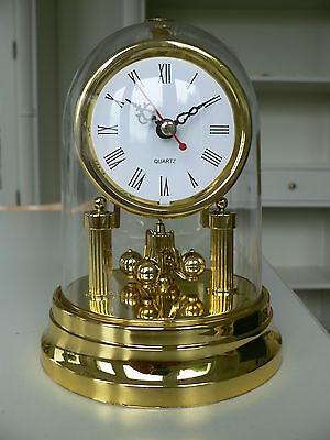 Jahresuhr Pendeluhr Drehpendeluhr Quartz Kaminuhr gold ca. 16cm